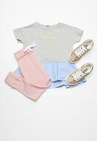 dailyfriday - Peplum tee - light grey melange with check