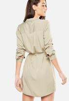 Cotton On - Woven long sleeve shirt dress - beige