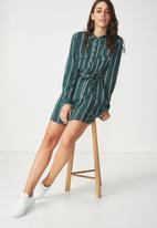 Cotton On - Woven long sleeve shirt dress - green