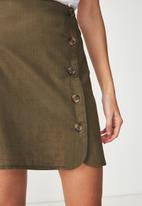 Cotton On - Woven mini military skirt - green