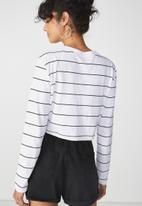Cotton On - The urban long sleeve top - white & black