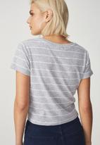 Cotton On - The baby rib short sleeve tee - grey & white