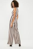 Missguided - Stripe wrap front sleeveless jumpsuit - cream