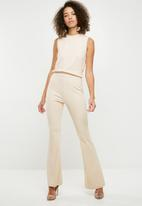 Missguided - Rib flare leg sleevless jumpsuit - cream