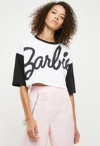 Missguided - Barbie mono contrast crop T-shirt - white & black