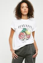 Missguided - Havana washed graphic t-shirt - white