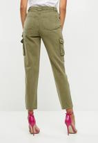 Missguided - Denim utility cargo pants - green