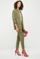 Missguided - Denim utility jacket - green