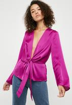 Missguided - Satin drape plunge blouse - purple