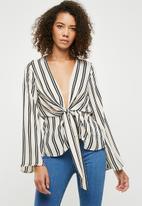 Missguided - Stripe drape front plunge blouse - multi