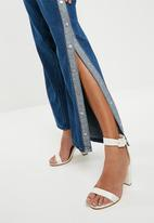 Missguided - Popper side wide leg denim - blue