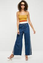 Missguided - Square neck stripe detail crop top - mustard