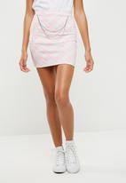 Missguided - Chain detail check scuba mini skirt - pink