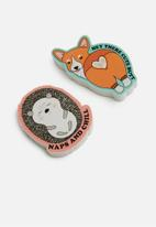 Typo - Novelty eraser pack - corgi hedgehog