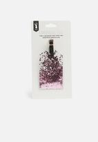 Typo - Glitter filled luggage tag - pink glitter
