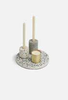 Present Time - Terrazzo candle tray - black