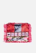 Missguided - Beaded fringe clutch bag - multi