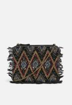 Missguided - Sequin beaded fringe clutch bag - multi