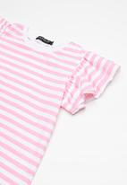 Superbalist - Kids girls  ruffle sleeve top - pink & white