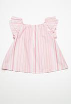 Superbalist - Kids girls ruffle sleeve blouse - pink stripe