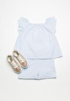 Superbalist - Ruffle sleeve blouse -white & blue