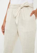 Superbalist - Linen blend self tie suit pants - beige & white