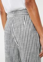 Superbalist - Linen blend self tie suit pants - charcoal & white