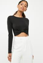 Missguided - Long sleeve knot crop - black