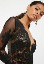 Missguided - Long sleeve lace plunge bodysuit - black