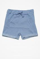 MINOTI - Kids boys roll up fleece shorts - blue