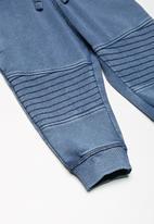 MINOTI - Kids boys acid wash jogger pants - blue