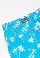 MINOTI - Kids boys palm tree swim shorts - blue & white