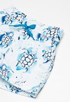 MINOTI - Kids boys turtle swim shorts - blue & white