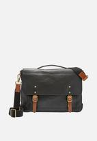 Fossil - Defender leather portfolio bag - black