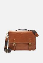 Fossil - Defender leather portfolio bag - tan