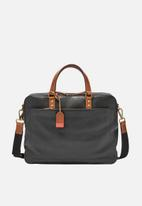 Fossil - Defender leather double zip workbag - black