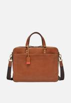 Fossil - Defender leather double zip workbag - tan