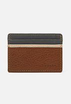 Fossil - Elgin leather card case - brown