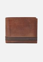 Fossil - Quinn leather large coin pocket wallet - brown