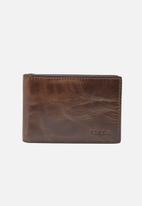 Fossil - Derrick leather money clip - brown