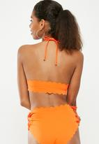 Missguided - Lace up halter scallop bikini set - orange
