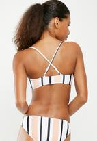 Missguided - Stripe sporty cross back mix and match - peach & white