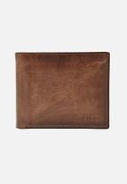 Fossil - 2 in 1 leather wallet - brown