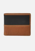 Fossil - Tate leather large coin pocket wallet - tan