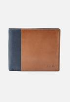 Fossil - Ward leather large coin wallet - navy & tan