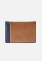 Fossil - Ward leather money clip - navy & tan