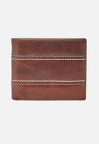 Fossil - Reese leather large coin pocket wallet - brown