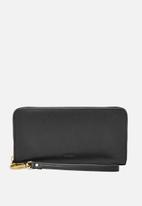 Fossil - Emma leather large zip wallet - black