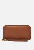 Fossil - Emma large leather wallet - brown