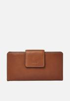 Fossil - Emma leather tab wallet - brown